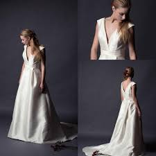 vintage 2015 alan hannah satin wedding dresses v neck cap sleeves