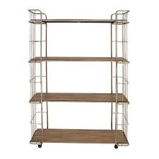 modern silver metal and wood rolling bookcase with metal wire side