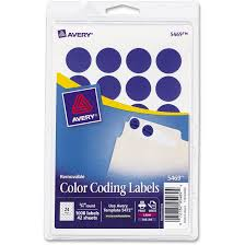4 Per Sheet Label Template by Avery Printable Removable Color Coding Labels 3 4 Dia Assorted