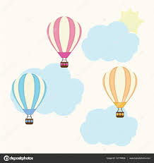 baby shower illustration with cute air balloon on sky
