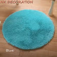 Plush Floor Rugs 100cm Blue Rug Plush Shaggy Soft Round Carpet Floor Rug Mat For