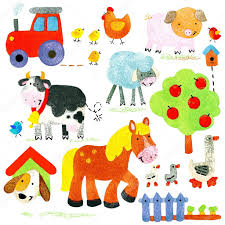 watercolor farm animals set cartoon farm animal cartoon pet