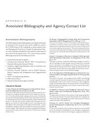 appendix a annotated bibliography and agency contact list