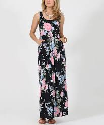 éloges charcoal u0026 pink floral pocket maxi dress plus zulily