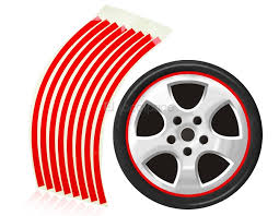 Car Decoration Accessories Striped Reflective Sticker For Car Wheels Red Er2054r