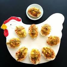 hatch chile deviled eggs football shaped chile flavored