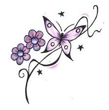 butterfly with flowers stars design tattoo tattoos book 65 000