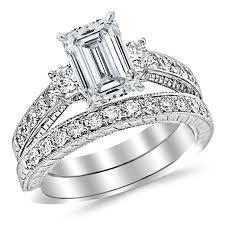emerald cut wedding set white gold classic channel set wedding set bridal band diamond