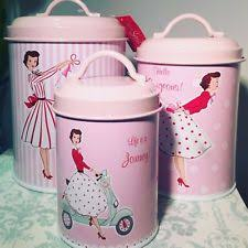 pink kitchen canister set set of 3 mrs smith retro pink kitchen tin canisters storage ebay