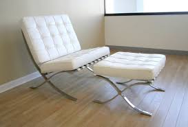 White Leather Chair With Ottoman Mies Style Pavilion Chair Multiple Colors Materials Designer