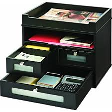 Desk Top Organizers Victor Wood Midnight Black Collection Tidy Tower