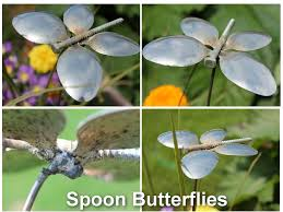spoon butterfly garden ornament from recycled silverware country