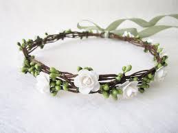 Bracelet Fleur Mariage Couronne Florale Bandeau De Fleur Blanche Couronne De Tête