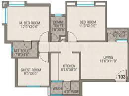 1100 sq ft 1100 sq ft 3 bhk floor plan image pawan group viram 2 available