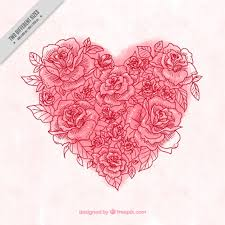 watercolor heart background made of rose sketches vector free
