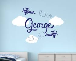 aliexpress com buy boys name airplane clouds decal nursery boys aliexpress com buy boys name airplane clouds decal nursery boys personalized name home decor kids children room art bedroom vinyl wall sticker y 93 from
