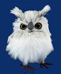 fluffy gray white owl figurine decor