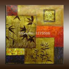 wholesale price dark gold color leaves and geometric wall art