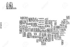 United States Map Black And White by Illustration Of United States Map With Country Name Royalty Free