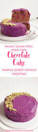 grain free chocolate cake with purple sweet potato frosting the