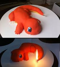 the charmander cake i made for my cousin too bad he killed it by