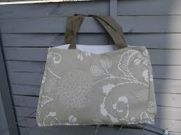 sac cabas lin sac cabas sac de plage ou sac à provision en lin beige et décors