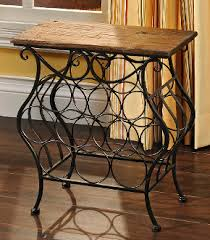 wine barrel table with rack