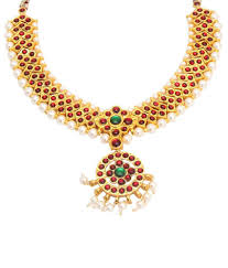 gold stone necklace images Vama collections one gram gold plated dance temple jewellery kempu jpg