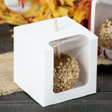 caramel apple boxes wholesale white 1 candy apple box with window 100