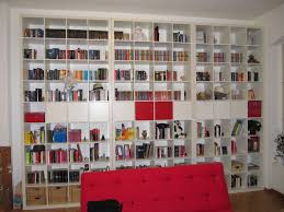 comely white living room shows wide ikea malm bookcase wall set