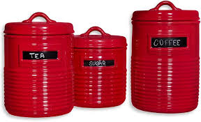 red kitchen canisters canister sets and food storage jars