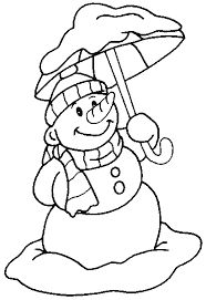 snowman coloring pages holding umbrella coloringstar