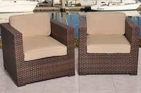 2 Armchairs International Home Bellagio 2 Armchairs Pvc Wicker Set Beige