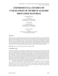 cbr engineering exterimental studies on utilization of murrum as hard shoulder