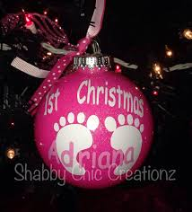 glitter baby ornaments