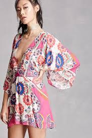 blush noir floral kimono dress shopperboard
