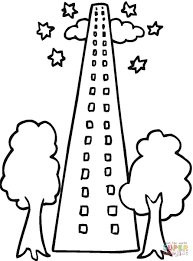 skyscraper with two trees in front coloring page free printable