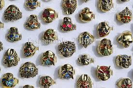 skull finger rings images Big gothic skull carved biker rings colorful rhinestone oil drop jpg