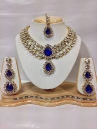 blue crystal necklace set images Buy three chain crystal necklace set in royal blue color online jpg