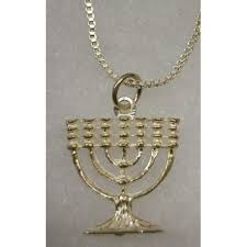 silver plated menorah plated menorah necklace