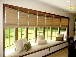 Dark Brown Roman Blinds Window Treatments Shades For Bay Windows Polished Dark Brown