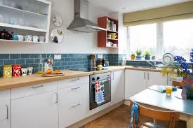 Retro Kitchen Ideas by Small Kitchen Decoration Using Grey Granite Retro Kitchen