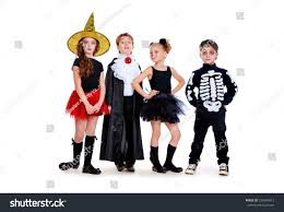 fashion halloween background pictures group cute children wearing halloween costumes stock photo