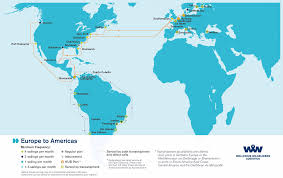 North America South America Map by Overseas Shipping Route Maps L Wallenius Wilhelmsen Logistics