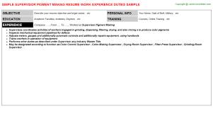 Mechanical Supervisor Resume Sample by Supervisor Pigment Making Resume Sample