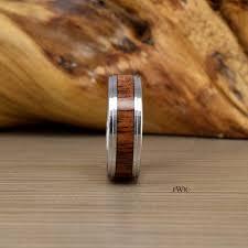 wood rings wedding cobalt and hawaiian koa wood ring stepped edge men s titanium