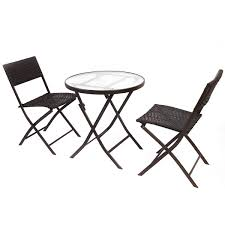 Patio Table Chairs by 3 Pcs Bistro Folding Table Chair Set Outdoor Furniture Sets