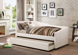 300509 upholstered daybed in ivory fabric by coaster w trundle