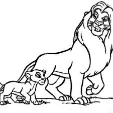simba and his father mufasa in the lion king movie coloring page