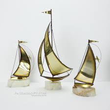 Sailboat Home Decor Vintage Brass Sailboat Sculpture Nautical Beach Decor Marble Jason